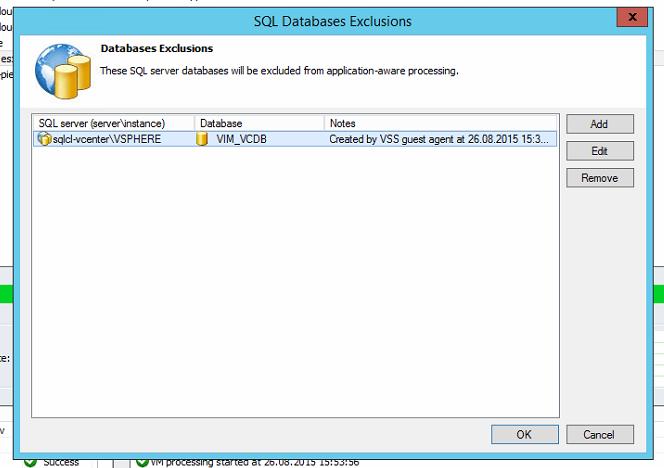 "Fenster ""SQL Databases-Exclusions"" mit eingetragener vCenter-Datenbank (2)"
