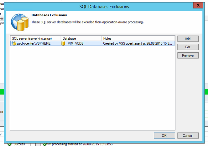 "Fenster ""SQL Databases-Exclusions"" mit eingetragener vCenter-Datenbank (2)"
