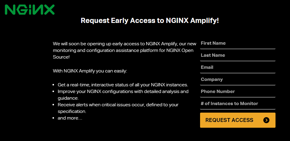 "nginx amplify: ""request access"""