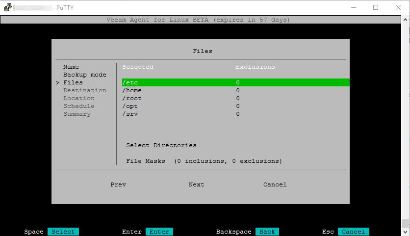 File level backup: Ordner-Auswahl