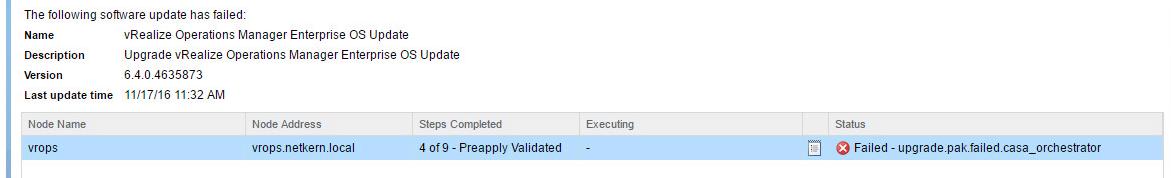 VA-OS 6.4 Upgrade Fails