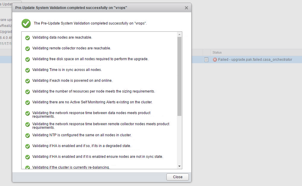 VA-OS 6.4 Upgrade: Prerequisites check okay